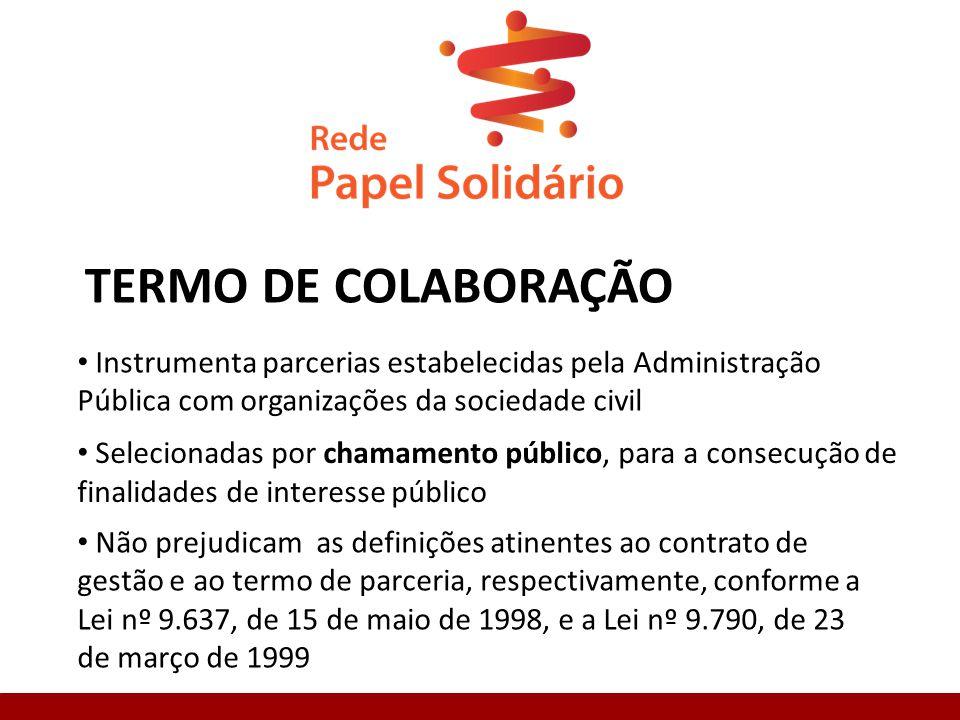 TERMO DE COLABORAÇÃO Instrumenta parcerias estabelecidas pela Administração Pública com organizações da sociedade civil Selecionadas por chamamento público, para a consecução de finalidades de interesse público Não prejudicam as definições atinentes ao contrato de gestão e ao termo de parceria, respectivamente, conforme a Lei nº 9.637, de 15 de maio de 1998, e a Lei nº 9.790, de 23 de março de 1999