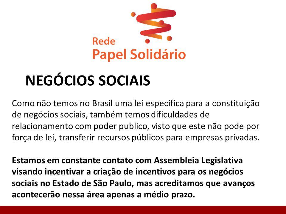 NEGÓCIOS SOCIAIS Como não temos no Brasil uma lei especifica para a constituição de negócios sociais, também temos dificuldades de relacionamento com poder publico, visto que este não pode por força de lei, transferir recursos públicos para empresas privadas.