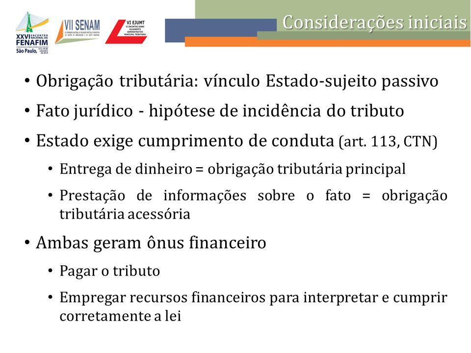 Considerações iniciais Caráter secundário da obrigação tributária acessória.