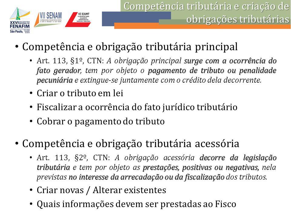 Competência e obrigação tributária principal surge com a ocorrência do fato geradorpagamento de tributo ou penalidade pecuniária Art. 113, §1º, CTN: A