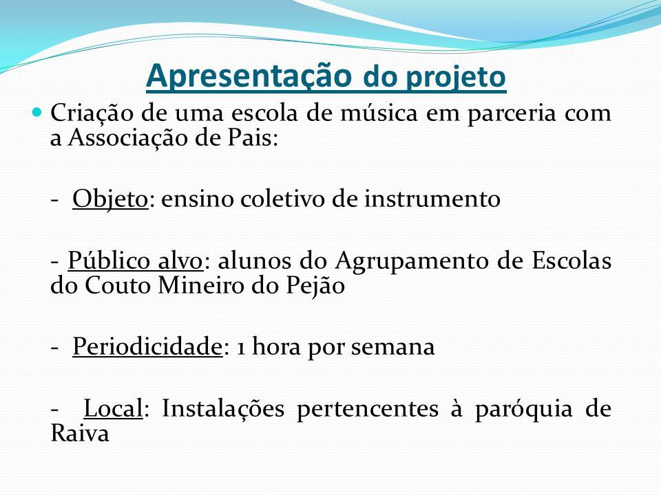 Apresentação do projeto Criação de uma escola de música em parceria com a Associação de Pais: - Objeto: ensino coletivo de instrumento - Público alvo: