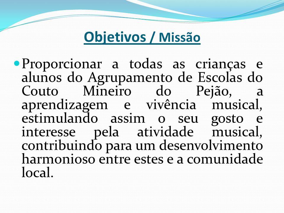 Objetivos / Missão Proporcionar a todas as crianças e alunos do Agrupamento de Escolas do Couto Mineiro do Pejão, a aprendizagem e vivência musical, e