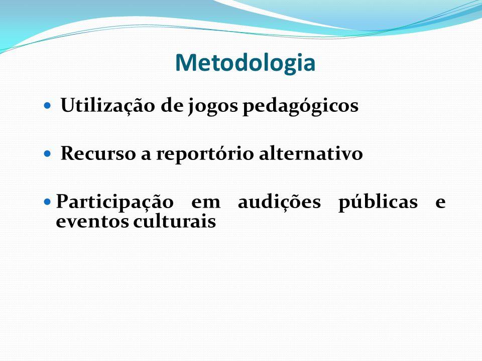 Utilização de jogos pedagógicos Recurso a reportório alternativo Participação em audições públicas e eventos culturais Metodologia