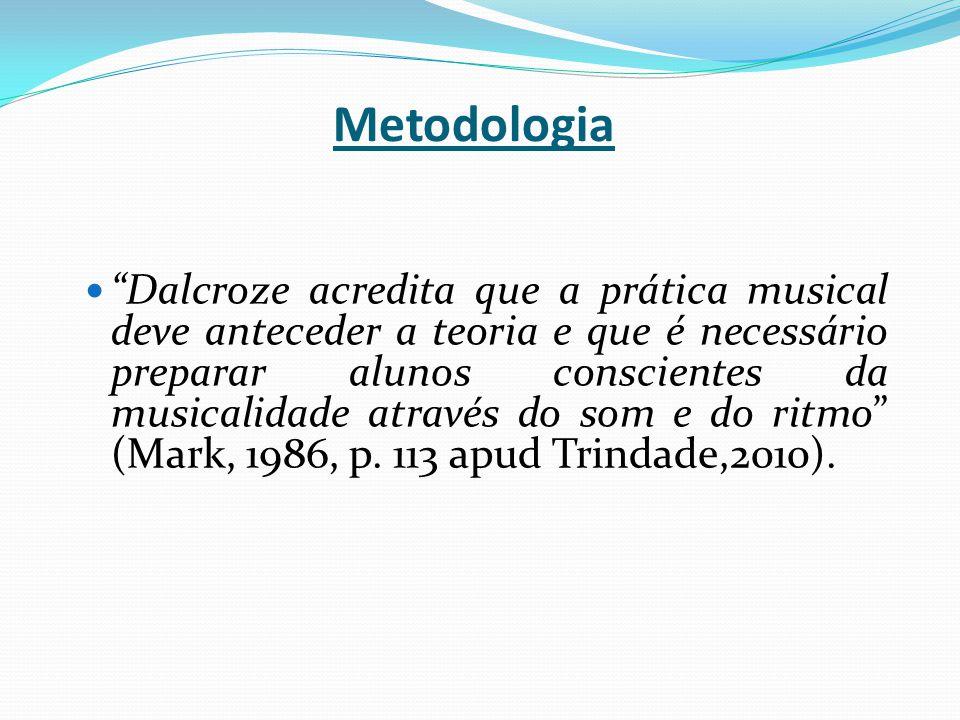 """Metodologia """"Dalcroze acredita que a prática musical deve anteceder a teoria e que é necessário preparar alunos conscientes da musicalidade através do"""