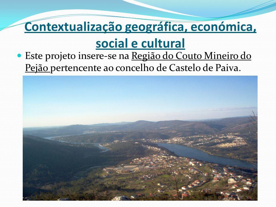 Contextualização geográfica, económica, social e cultural Este projeto insere-se na Região do Couto Mineiro do Pejão pertencente ao concelho de Castel