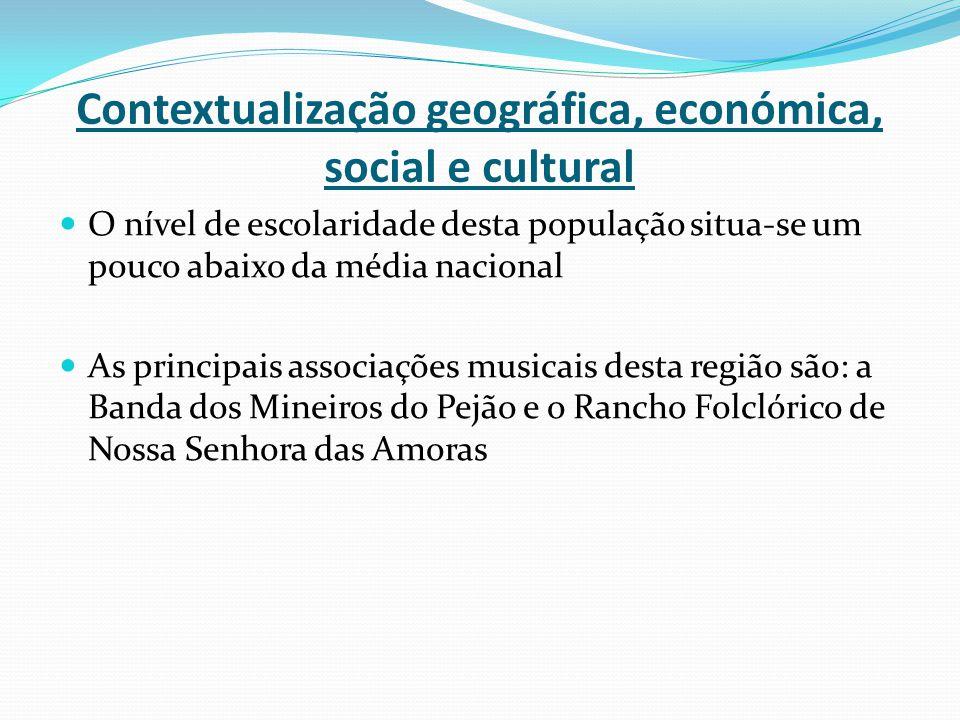 Contextualização geográfica, económica, social e cultural O nível de escolaridade desta população situa-se um pouco abaixo da média nacional As princi