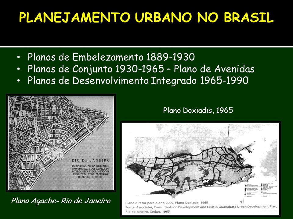 Planos de Embelezamento 1889-1930 Planos de Conjunto 1930-1965 – Plano de Avenidas Planos de Desenvolvimento Integrado 1965-1990 PLANEJAMENTO URBANO N