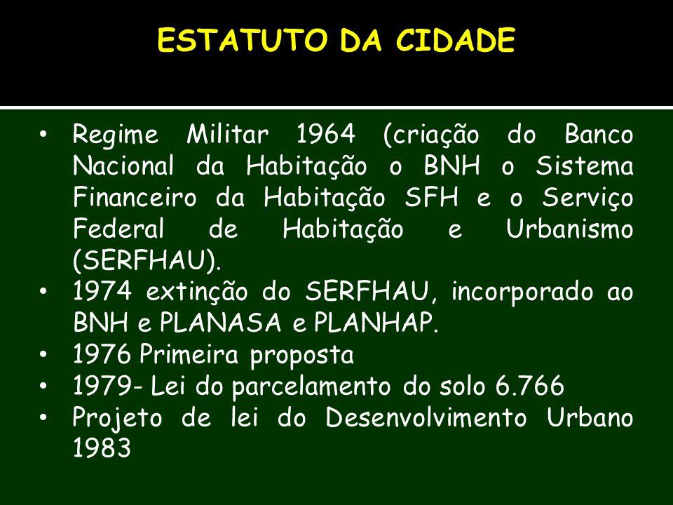 Regime Militar 1964 (criação do Banco Nacional da Habitação o BNH o Sistema Financeiro da Habitação SFH e o Serviço Federal de Habitação e Urbanismo (