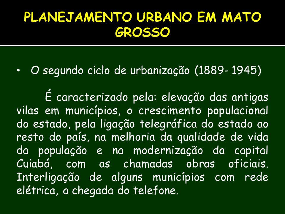 O segundo ciclo de urbanização (1889- 1945) É caracterizado pela: elevação das antigas vilas em municípios, o crescimento populacional do estado, pela