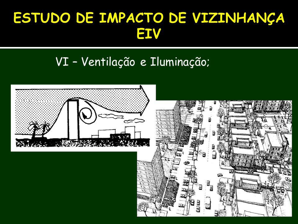 VI – Ventilação e Iluminação; ESTUDO DE IMPACTO DE VIZINHANÇA EIV