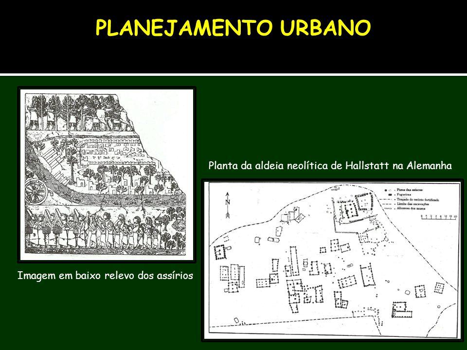 Imagem em baixo relevo dos assírios Planta da aldeia neolítica de Hallstatt na Alemanha