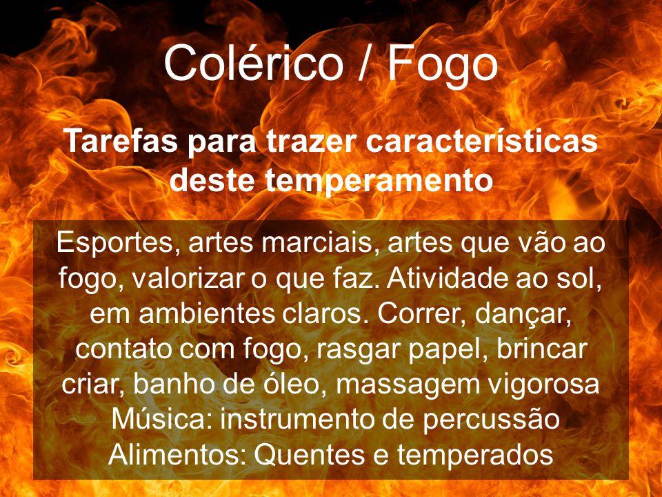Colérico / Fogo Tarefas para trazer características deste temperamento Esportes, artes marciais, artes que vão ao fogo, valorizar o que faz. Atividade