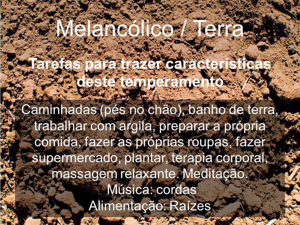 Melancólico / Terra Tarefas para trazer características deste temperamento Caminhadas (pés no chão), banho de terra, trabalhar com argila, preparar a