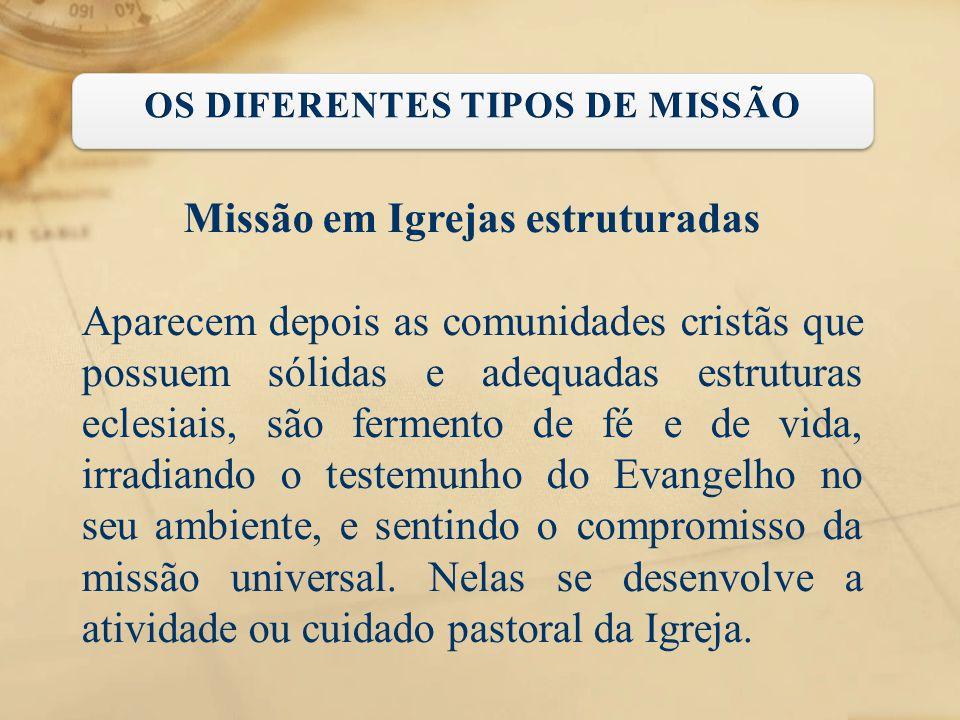 Missão em Igrejas estruturadas Aparecem depois as comunidades cristãs que possuem sólidas e adequadas estruturas eclesiais, são fermento de fé e de vi