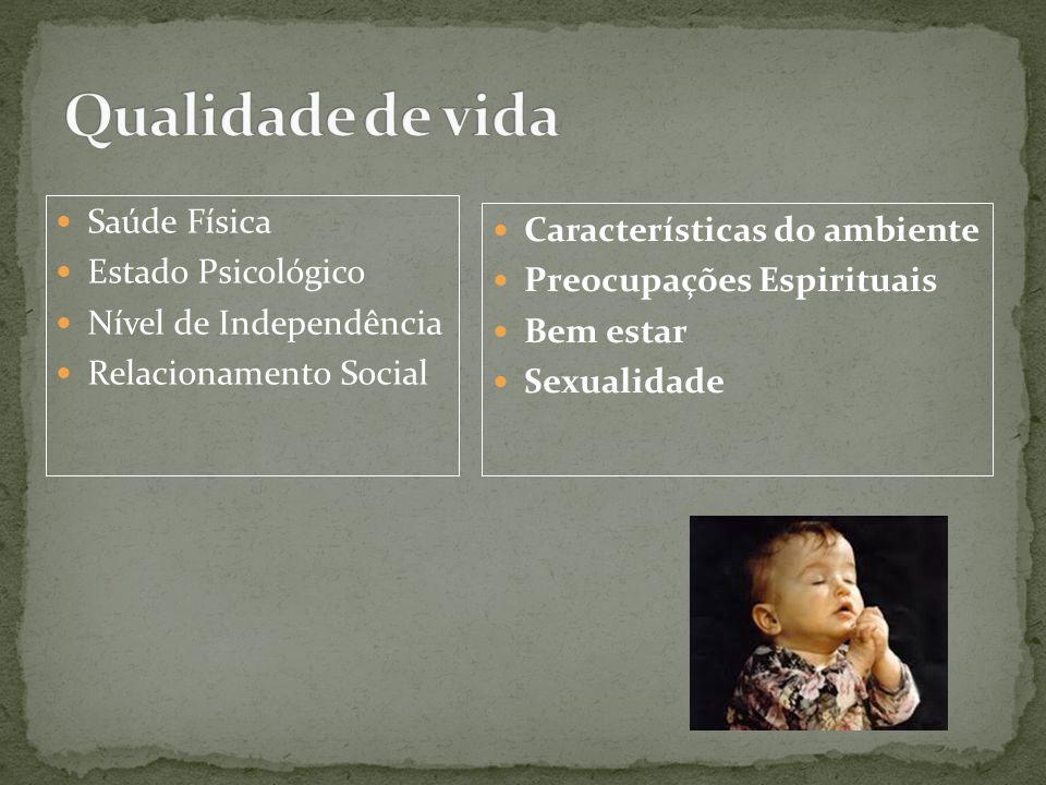 Saúde Física Estado Psicológico Nível de Independência Relacionamento Social Características do ambiente Preocupações Espirituais Bem estar Sexualidad