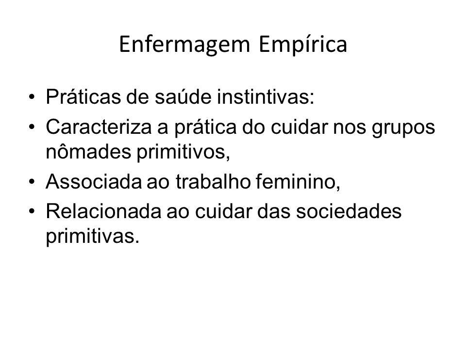 Enfermagem Empírica Práticas de saúde instintivas: Caracteriza a prática do cuidar nos grupos nômades primitivos, Associada ao trabalho feminino, Relacionada ao cuidar das sociedades primitivas.