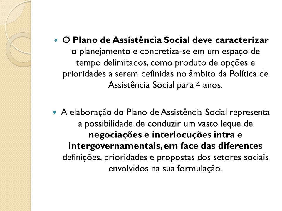 O Plano de Assistência Social deve caracterizar o planejamento e concretiza-se em um espaço de tempo delimitados, como produto de opções e prioridades