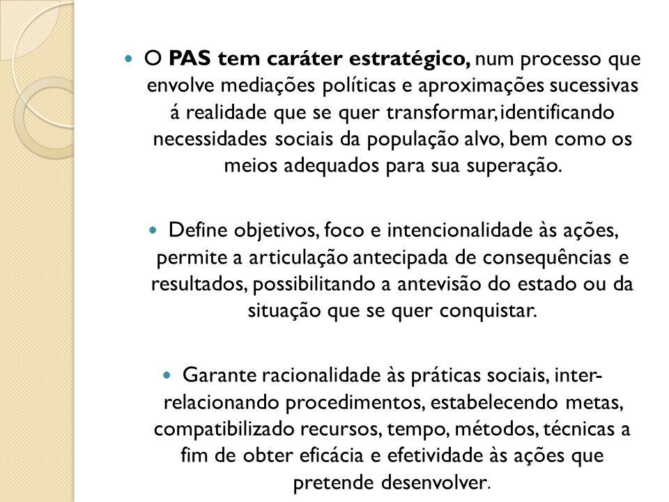 O PAS tem caráter estratégico, num processo que envolve mediações políticas e aproximações sucessivas á realidade que se quer transformar, identifican