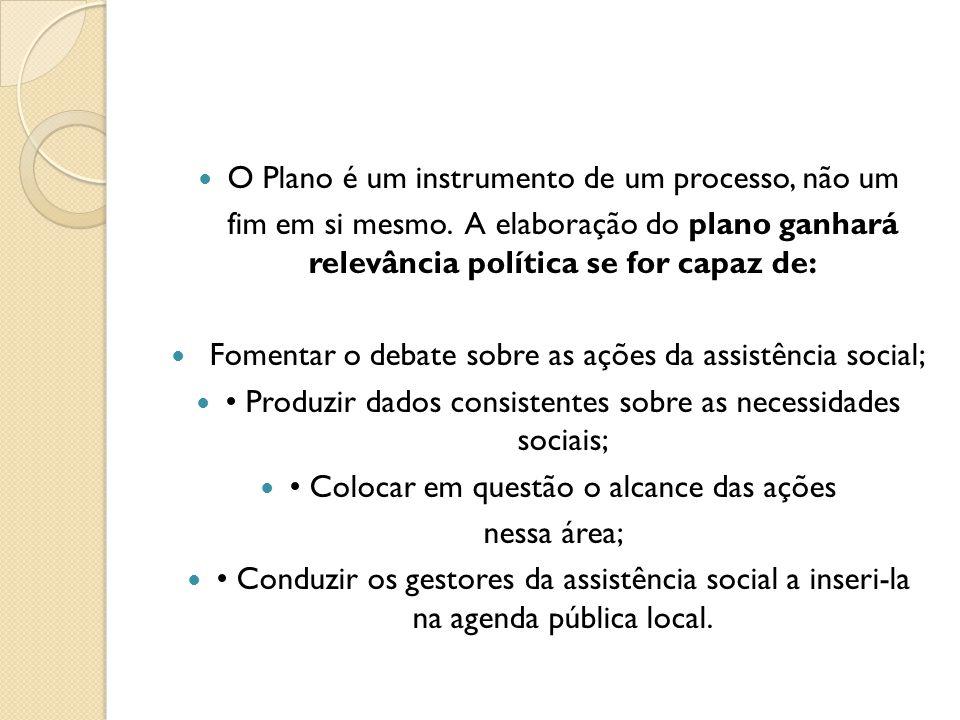 O Plano é um instrumento de um processo, não um fim em si mesmo. A elaboração do plano ganhará relevância política se for capaz de: Fomentar o debate