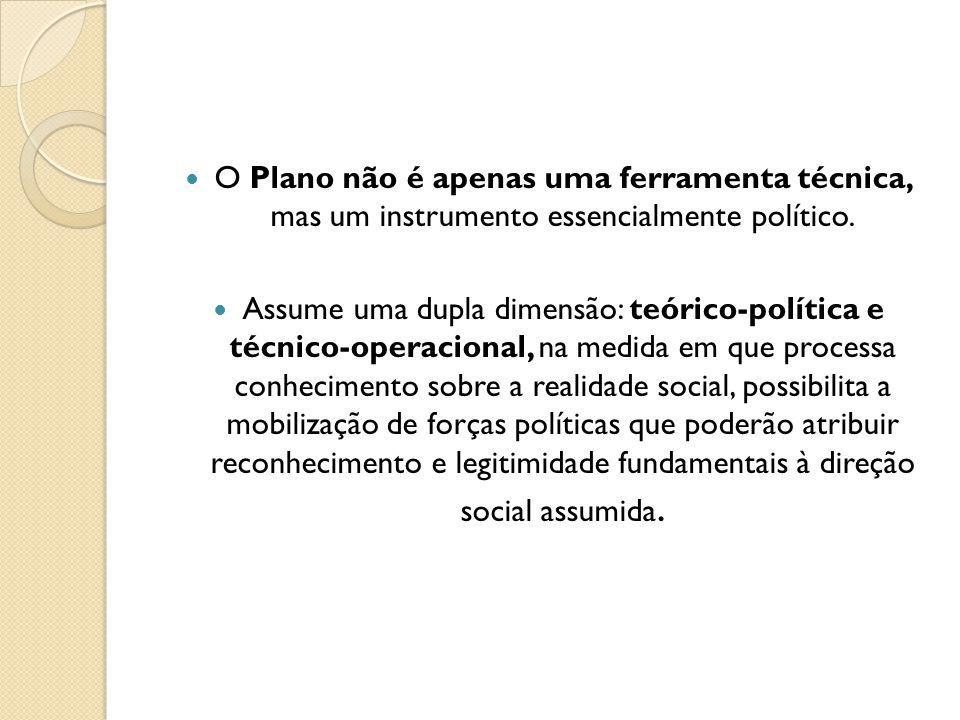 O Plano não é apenas uma ferramenta técnica, mas um instrumento essencialmente político. Assume uma dupla dimensão: teórico-política e técnico-operaci