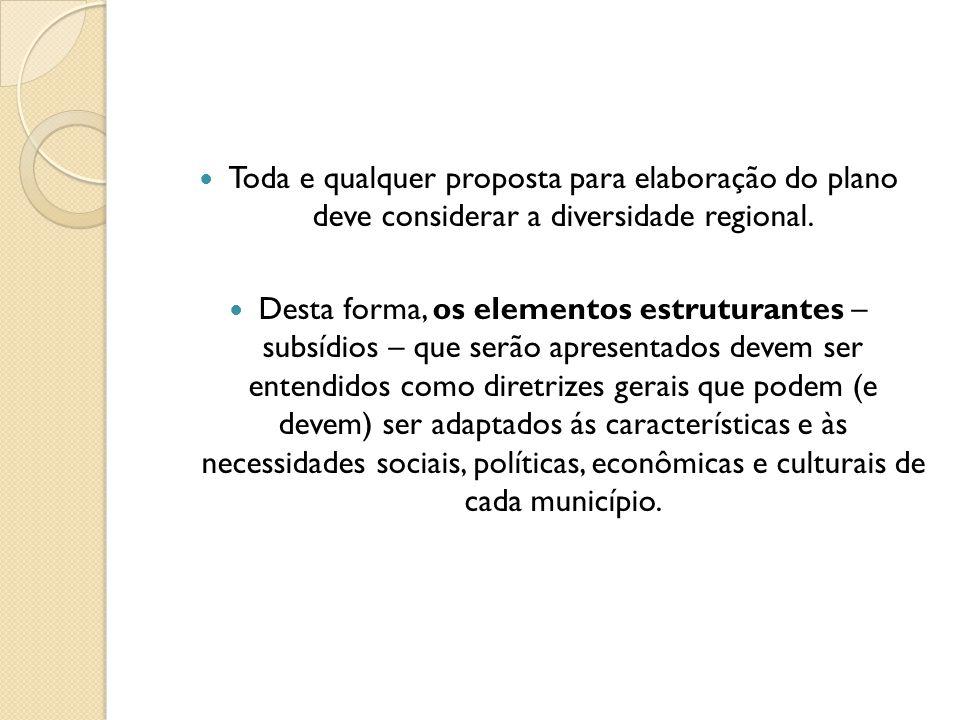 Toda e qualquer proposta para elaboração do plano deve considerar a diversidade regional. Desta forma, os elementos estruturantes – subsídios – que se