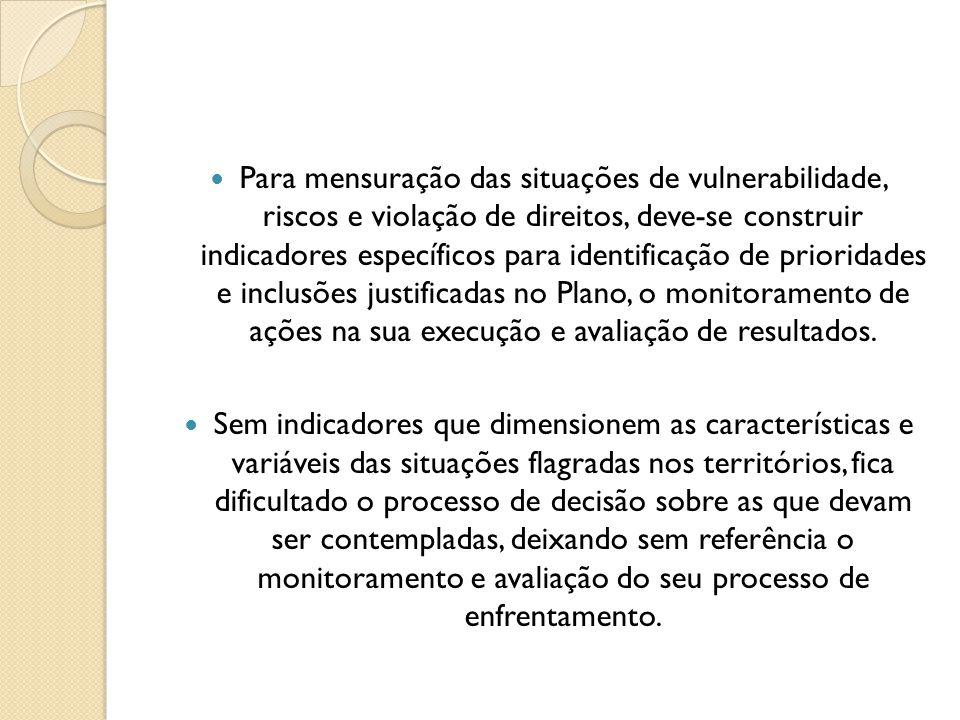 Para mensuração das situações de vulnerabilidade, riscos e violação de direitos, deve-se construir indicadores específicos para identificação de prior