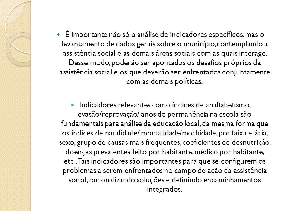 É importante não só a análise de indicadores específicos, mas o levantamento de dados gerais sobre o município, contemplando a assistência social e as