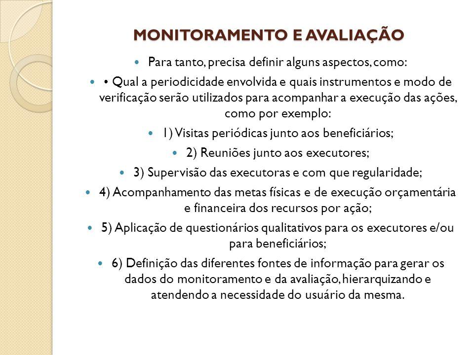 MONITORAMENTO E AVALIAÇÃO Para tanto, precisa definir alguns aspectos, como: Qual a periodicidade envolvida e quais instrumentos e modo de verificação