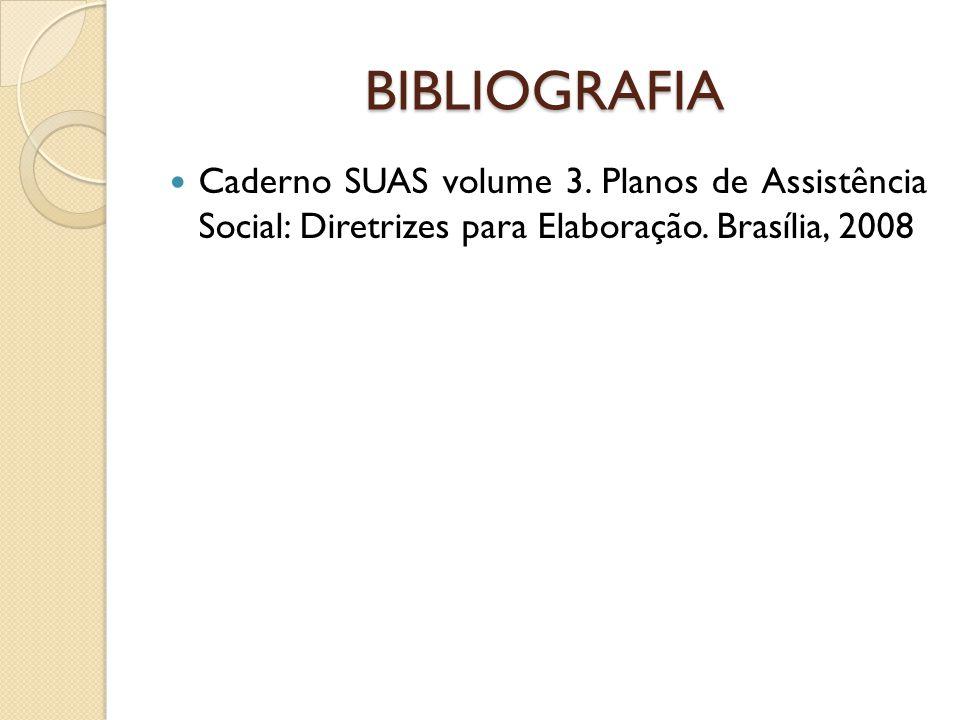 BIBLIOGRAFIA Caderno SUAS volume 3. Planos de Assistência Social: Diretrizes para Elaboração. Brasília, 2008