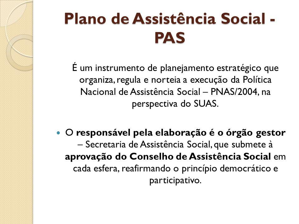 Plano de Assistência Social - PAS É um instrumento de planejamento estratégico que organiza, regula e norteia a execução da Política Nacional de Assis