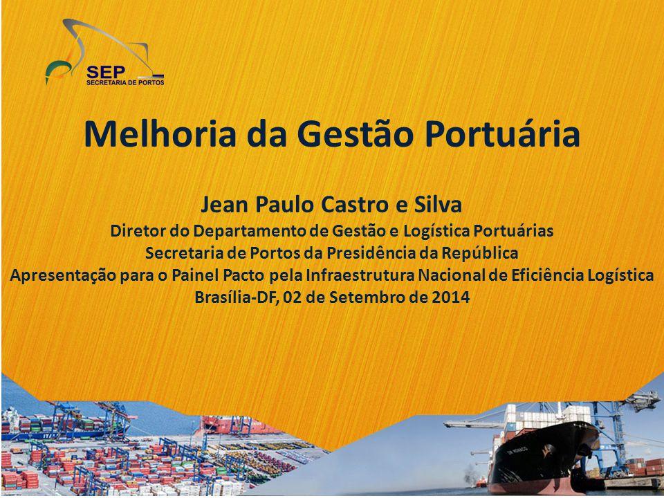 Melhoria da Gestão Portuária Jean Paulo Castro e Silva Diretor do Departamento de Gestão e Logística Portuárias Secretaria de Portos da Presidência da