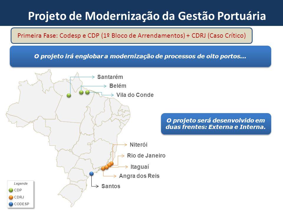Santarém Vila do Conde Belém Niterói Rio de Janeiro Itaguaí Angra dos Reis Santos O projeto irá englobar a modernização de processos de oito portos...