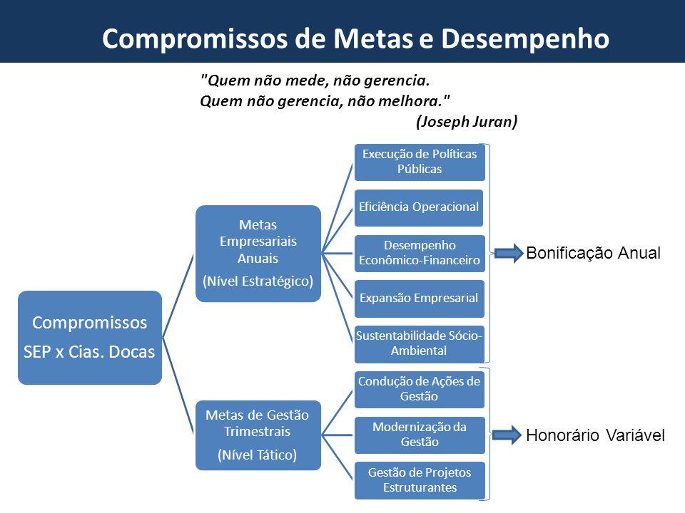 Novo Marco do Setor Portuário Compromissos de Metas e Desempenho Compromissos SEP x Cias. Docas Metas Empresariais Anuais (Nível Estratégico) Execução