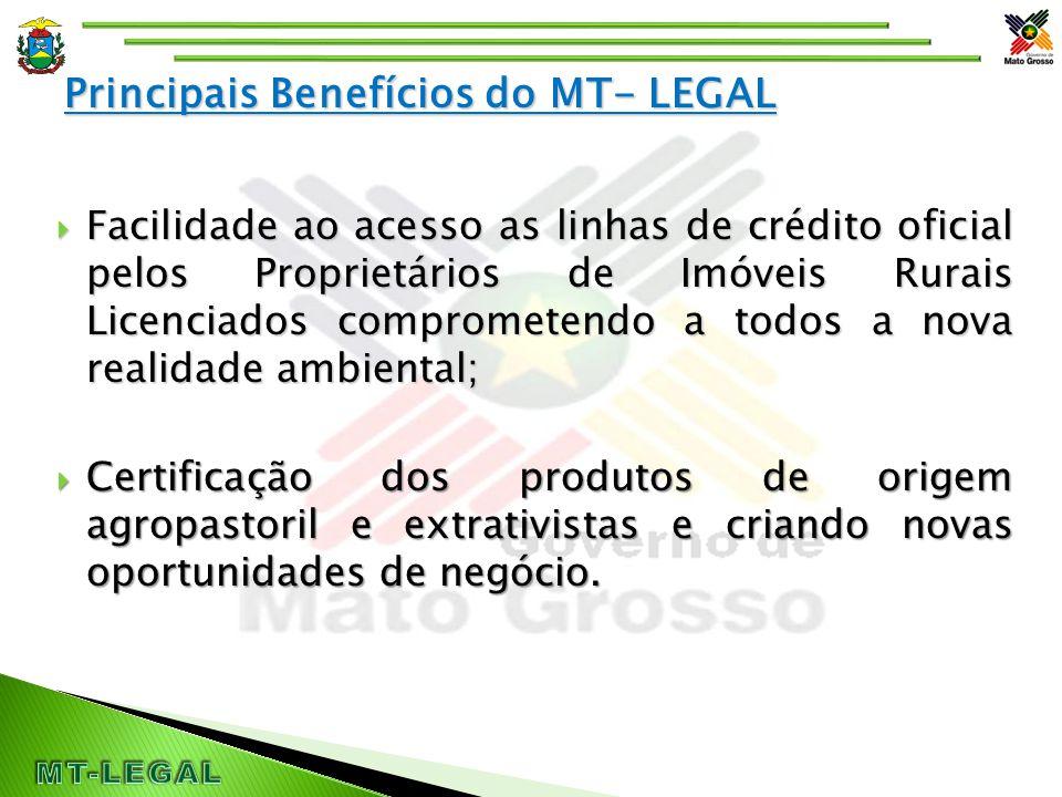 Principais Benefícios do MT- LEGAL  Facilidade ao acesso as linhas de crédito oficial pelos Proprietários de Imóveis Rurais Licenciados comprometendo a todos a nova realidade ambiental;  Certificação dos produtos de origem agropastoril e extrativistas e criando novas oportunidades de negócio.
