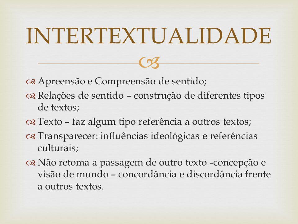   Apreensão e Compreensão de sentido;  Relações de sentido – construção de diferentes tipos de textos;  Texto – faz algum tipo referência a outros