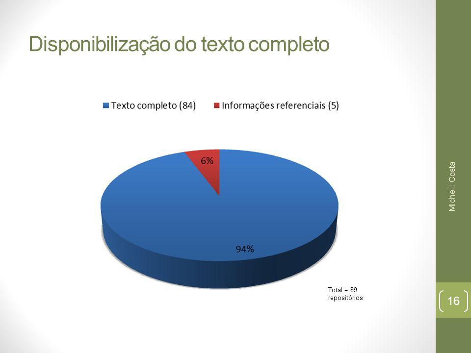 Disponibilização do texto completo Total = 89 repositórios Michelli Costa 16