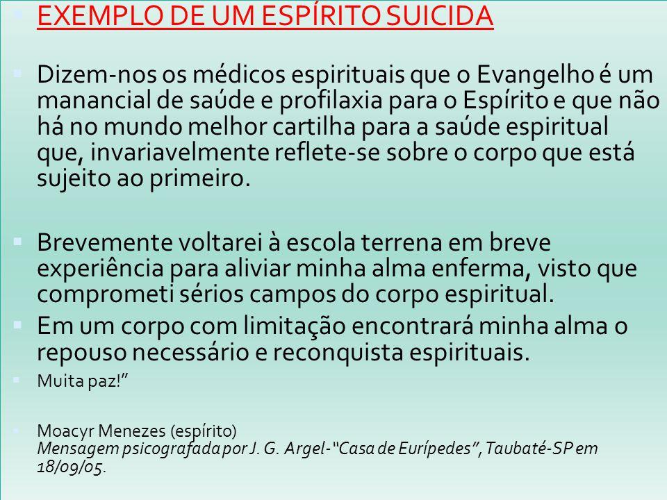  EXEMPLO DE UM ESPÍRITO SUICIDA  Dizem-nos os médicos espirituais que o Evangelho é um manancial de saúde e profilaxia para o Espírito e que não há
