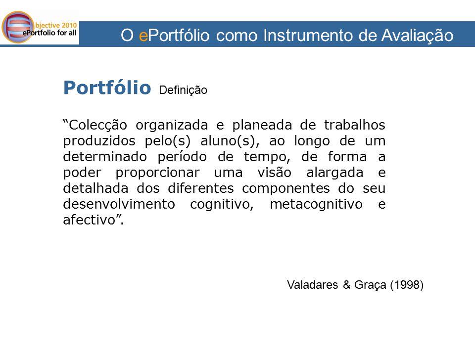 """O ePortfólio como Instrumento de Avaliação Portfólio Definição Valadares & Graça (1998) """"Colecção organizada e planeada de trabalhos produzidos pelo(s"""
