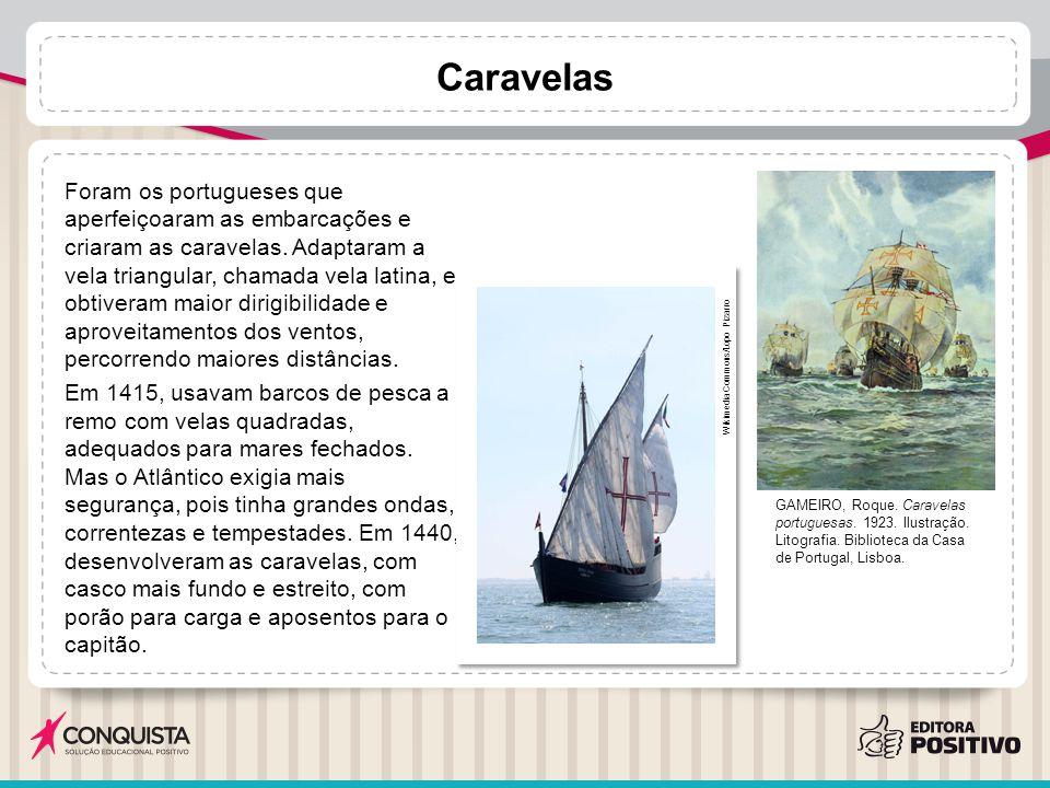 Caravelas Foram os portugueses que aperfeiçoaram as embarcações e criaram as caravelas. Adaptaram a vela triangular, chamada vela latina, e obtiveram