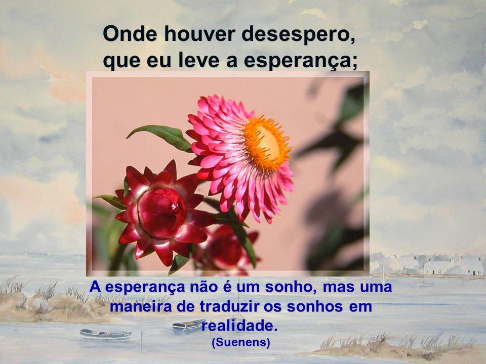 Onde houver desespero, que eu leve a esperança; A esperança não é um sonho, mas uma maneira de traduzir os sonhos em realidade. A esperança não é um s