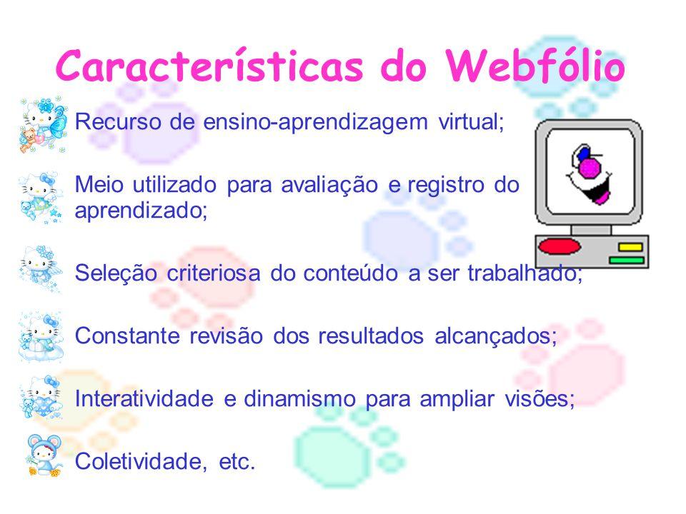 Características do Webfólio Recurso de ensino-aprendizagem virtual; Meio utilizado para avaliação e registro do aprendizado; Seleção criteriosa do conteúdo a ser trabalhado; Constante revisão dos resultados alcançados; Interatividade e dinamismo para ampliar visões; Coletividade, etc.