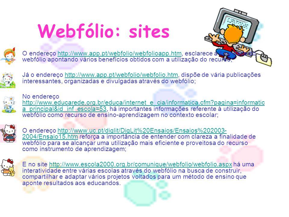 Webfólio: sites O endereço http://www.app.pt/webfolio/webfolioapp.htm, esclarece a finalidade do webfólio apontando vários benefícios obtidos com a ut