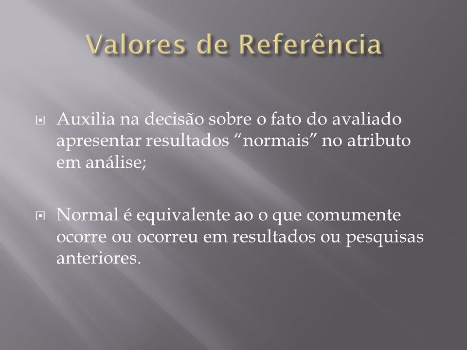  Auxilia na decisão sobre o fato do avaliado apresentar resultados normais no atributo em análise;  Normal é equivalente ao o que comumente ocorre ou ocorreu em resultados ou pesquisas anteriores.