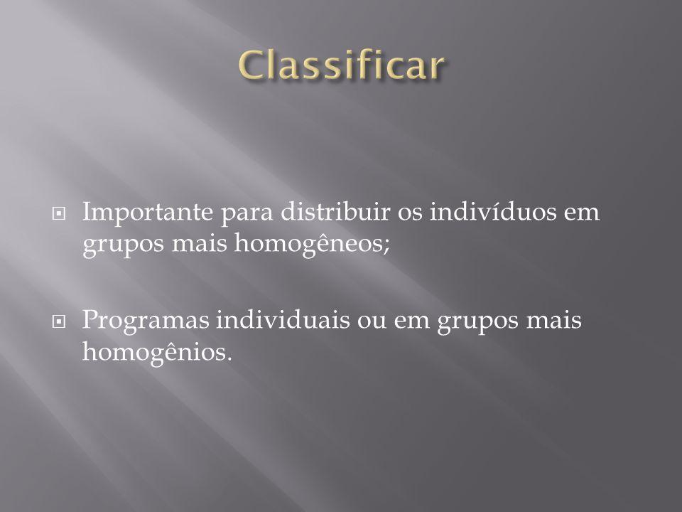  Importante para distribuir os indivíduos em grupos mais homogêneos;  Programas individuais ou em grupos mais homogênios.