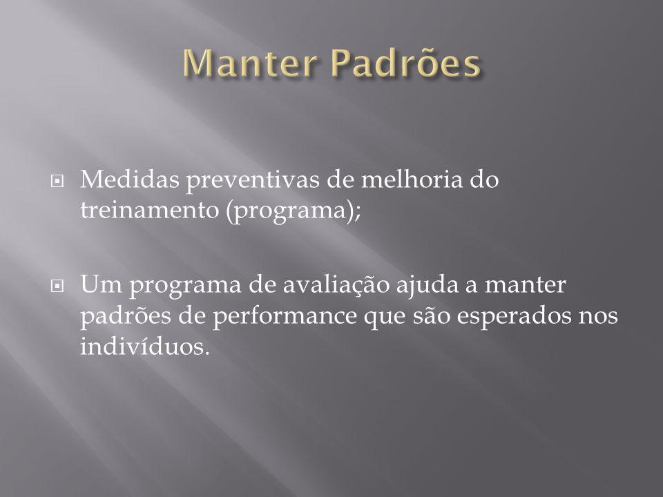  Medidas preventivas de melhoria do treinamento (programa);  Um programa de avaliação ajuda a manter padrões de performance que são esperados nos indivíduos.