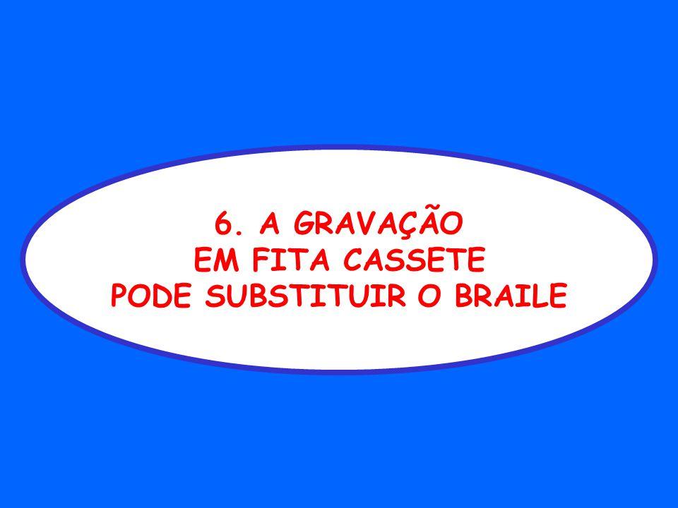 6. A GRAVAÇÃO EM FITA CASSETE PODE SUBSTITUIR O BRAILE