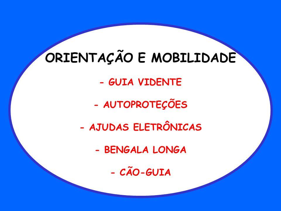 ORIENTAÇÃO E MOBILIDADE - GUIA VIDENTE - AUTOPROTEÇÕES - AJUDAS ELETRÔNICAS - BENGALA LONGA - CÃO-GUIA