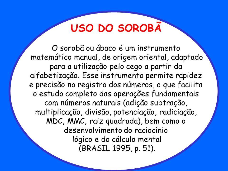USO DO SOROBÃ O sorobã ou ábaco é um instrumento matemático manual, de origem oriental, adaptado para a utilização pelo cego a partir da alfabetização.