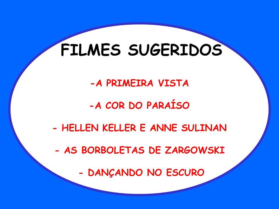 FILMES SUGERIDOS -A PRIMEIRA VISTA -A COR DO PARAÍSO - HELLEN KELLER E ANNE SULINAN - AS BORBOLETAS DE ZARGOWSKI - DANÇANDO NO ESCURO
