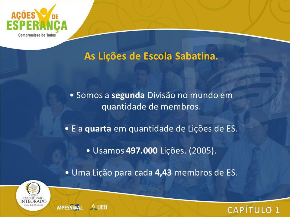As Lições de Escola Sabatina. Somos a segunda Divisão no mundo em quantidade de membros. E a quarta em quantidade de Lições de ES. Usamos 497.000 Liçõ